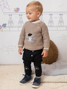 Baby boy plain black teddy bear pants BADAX / 21H1BG22PAN090