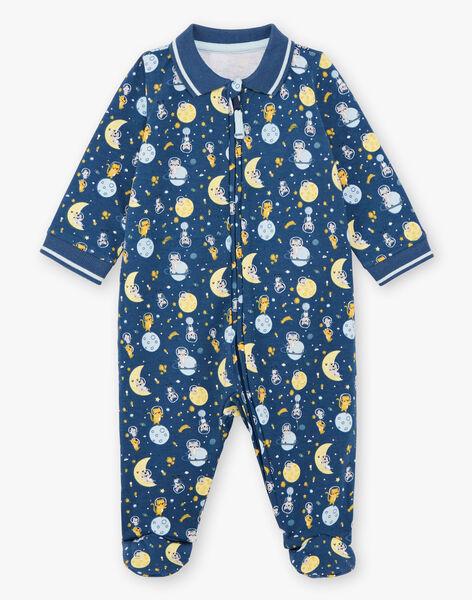 Baby boy's midnight blue sleep suit with fancy patterns BEANTOINE / 21H5BG65GRE715
