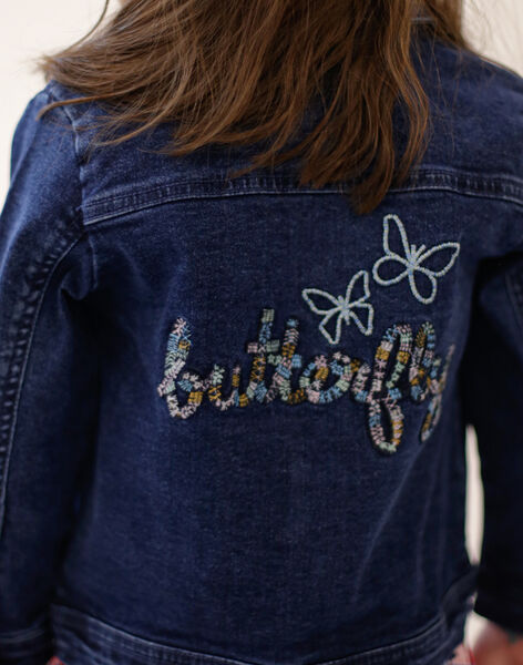 Dark blue denim jacket with embroidery on the back ZOUJINETTE / 21E2PFM3VESP269