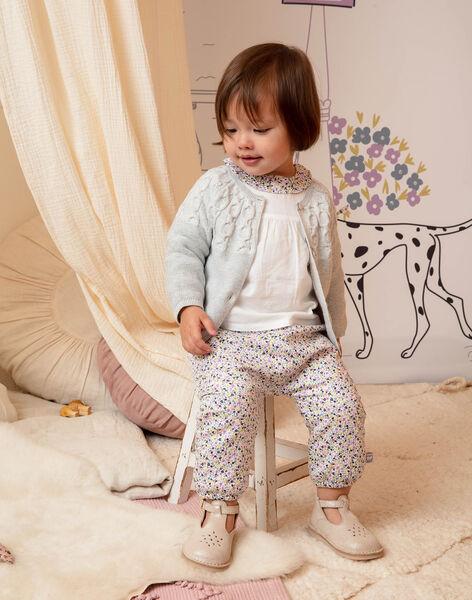 Baby girl's ecru and pink floral print pants BACHAYMA / 21H1BF21PAN001