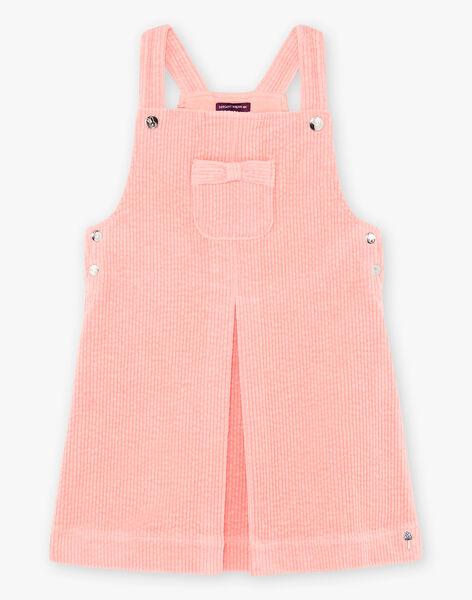 Girl's pink corduroy overalls dress BYCHASETTE / 21H2PFL1CHS415