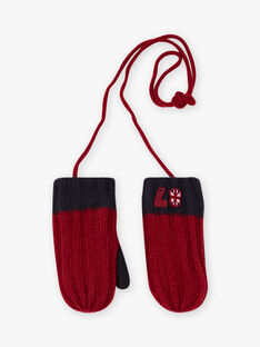 Boy's burgundy and navy blue ribbed mittens BAMIFAGE / 21H4PGD3GAN503