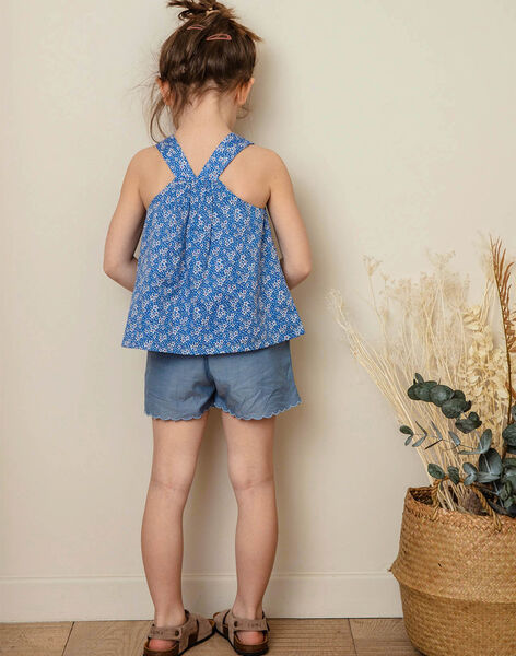 Lavender blue top with white floral pattern white child girl ZUBLIETTE / 21E2PFT1CHEC208