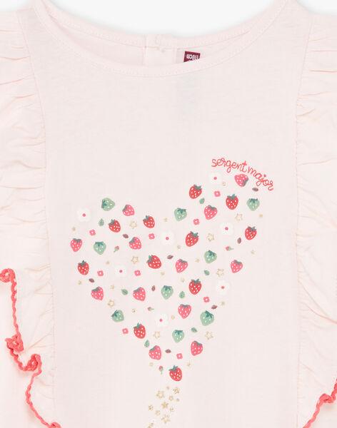 Pink T-shirt with strawberry pattern ZOMIRETTE / 21E2PFJ1TMC301