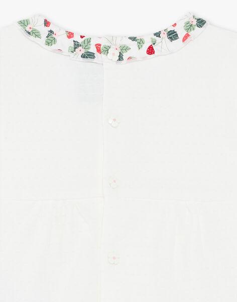 Short sleeves unbleached blouse in fancy jersey ZAAMELIE / 21E1BFJ1BRA001