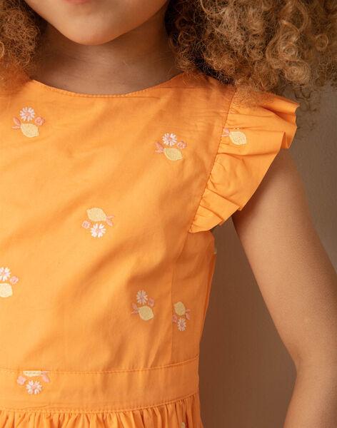 Orange and white dress with lemon print for children girls ZIBRODETTE / 21E2PFO1CHS406