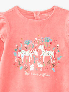 Girl's coral pink unicorn nightgown and legging set BEBOUNETTE / 21H5PF71CHN419