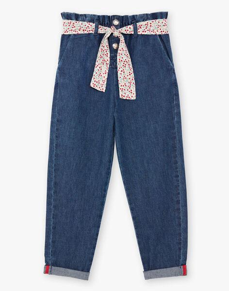 Girl's paperbag jeans with belt BAFOETTE / 21H2PF11JEAP269