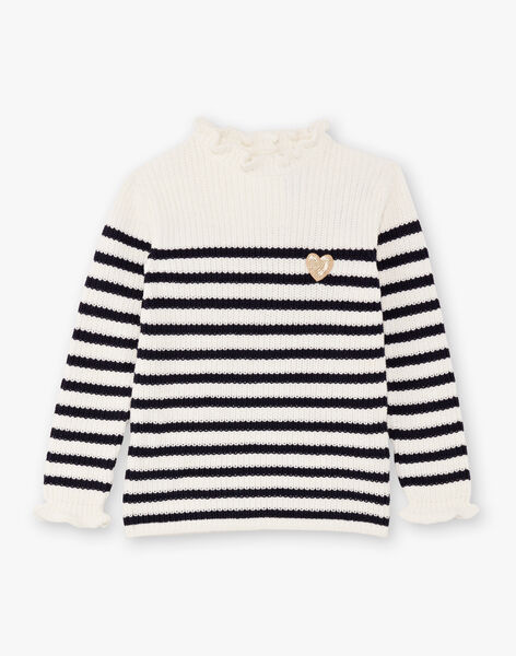 Girl's white and navy blue striped sweater BIPOLETTE / 21H2PF51PUL001