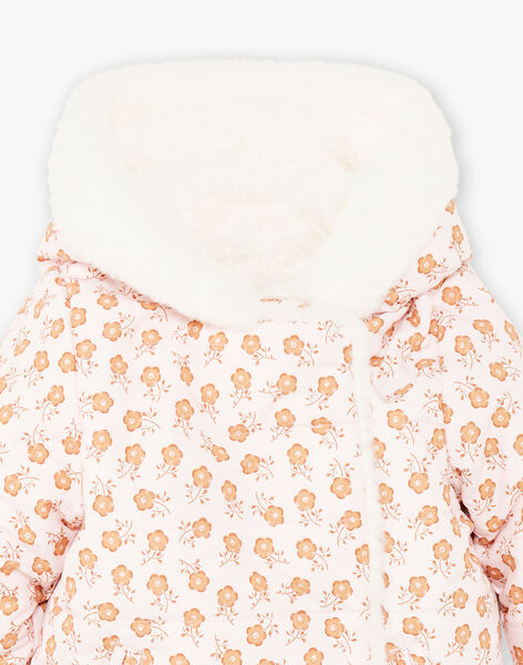 Baby girl's reversible floral print down jacket BIPRICILA / 21H1BFD1D3E321