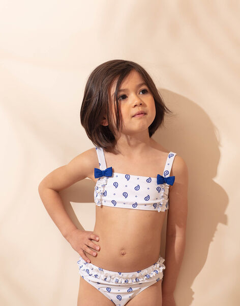 2-piece swimsuit white with blue floral pattern child girl ZAIFIETTE / 21E4PFR1D4L001