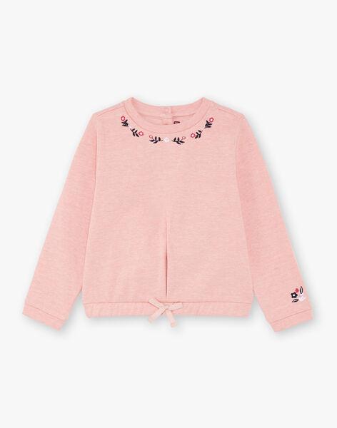 Girl's pink sweatshirt BROSWETTE / 21H2PF31SWED314