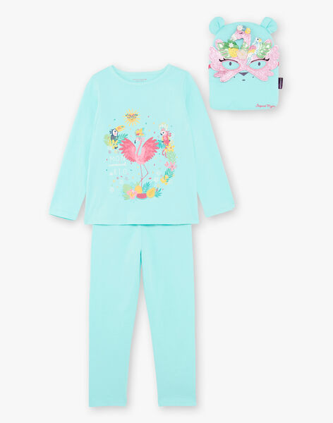 Blue fancy pyjamas with pocket and mask child girl ZEPYGETTE 2 / 21E5PFF2PYTC235