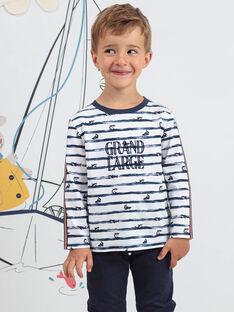 Boy's long sleeve striped T-shirt with shark print BIPOLIAGE / 21H3PGL1TML001