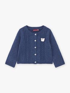 Baby girl petrol blue cardigan and plush cat BAKLELIA / 21H1BFL1CAR715