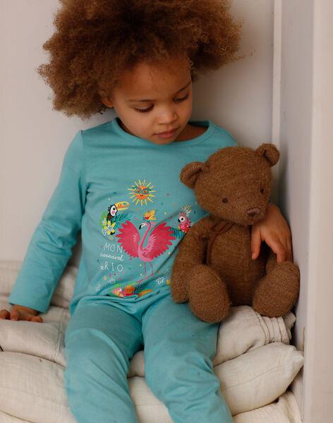 Blue fancy pyjamas with pocket and mask child girl ZEPYGETTE 2 / 21E5PFF2PYTC235