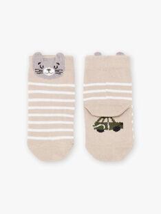 Baby boy's beige cat socks BADAOUH / 21H4BG21SOQA013