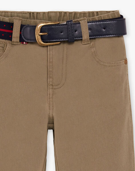 Boy's dark beige belt and straight leg pants BUXIGAGE3 / 21H3PGB7PAN604