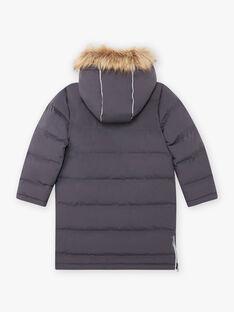 Boy's dark grey parka with fleece lining BADOUNAGE / 21H3PGE3PARJ916