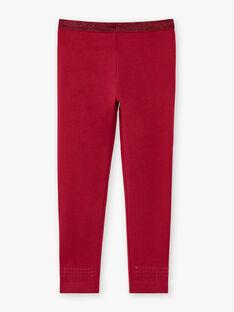 Girl's plain burgundy legging with sequin details BRONETTE 4 / 21H4PFB5CTT719