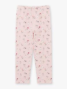 Girl's pink pyjama T-shirt and pants BEBARNETTE / 21H5PF64PYJD314