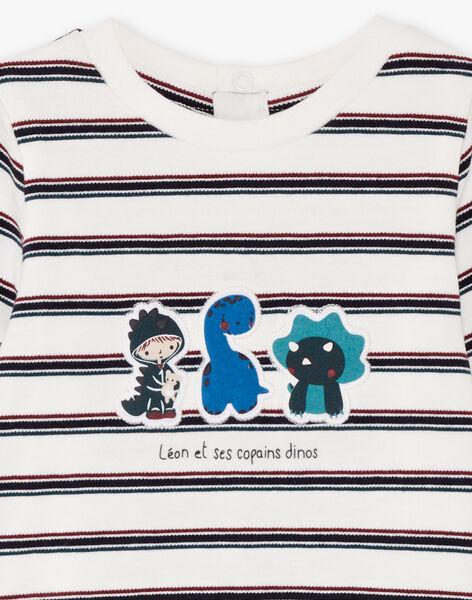 Baby Boy's Ecru and Navy Stripe Bodysuit BAJULIO / 21H1BG91BOD001