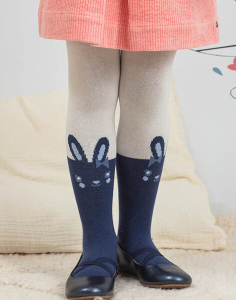 Child girl's ecru and navy blue tights with rabbit motif BYCOLIETTE / 21H4PFL1COL001