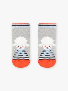 Baby boy's grey socks with sheep and stripes BANICOLAS / 21H4BGL1SOQ943