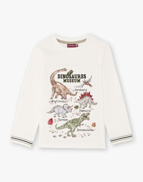 Boy's ecru long-sleeved T-shirt with dinosaur print BAMOAGE / 21H3PG21TML001