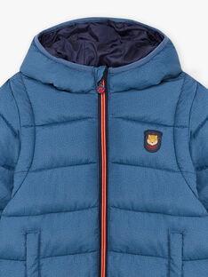 Baby boy's mottled blue down jacket and storage bag BEDOUNAGE 1 / 21H3PGG1DTV222