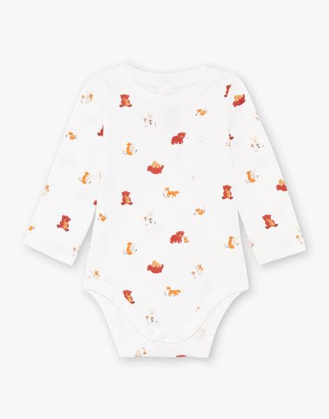 Ecru bodysuit printed fancy baby boy BALUCAS / 21H1BGJ1BOD001