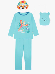 Turquoise fancy pyjamas with pouch and mask boy boy child ZIPIMAGE2 / 21E5PGF1PYTC216