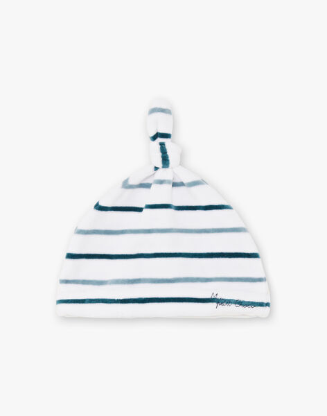 Baby boy's blue and white striped sleep suit with dinosaur print and beanie BEAYME / 21H5BG67GREG610