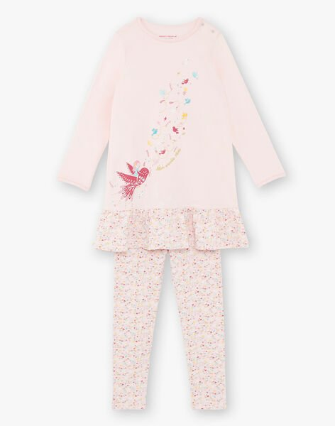 Coral pink nightdress and leggings child girl ZEOIZETTE / 21E5PF12CHND327