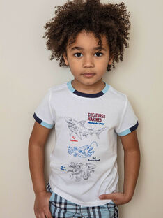 White T-shirt with sea animal motifs child boy ZINUAGE / 21E3PGT2TMC000