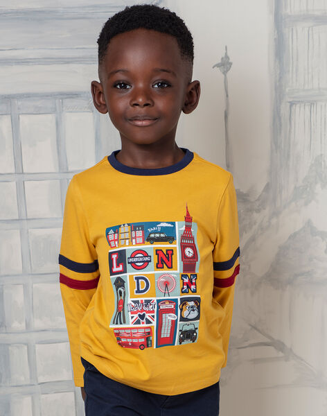 Boy's yellow and navy blue T-shirt BEDOUAGE / 21H3PG51TMLB114