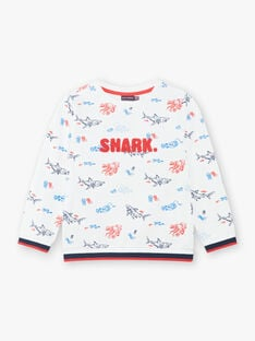 White shark print sweatshirt colorful boy boy child ZISOULAGE / 21E3PGT1SWE000