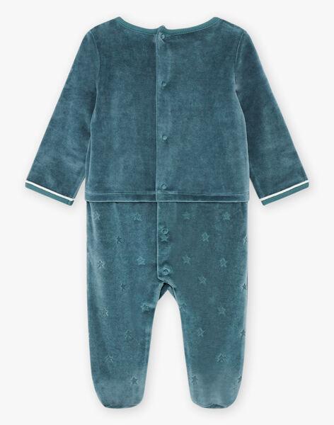 Baby boy's China blue velvet romper with ice floe animal design BECELESTIN / 21H5BG74GRE720