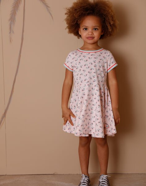 Pink dress with floral print in cotton ZERAYETTE / 21E2PFI2ROBD319