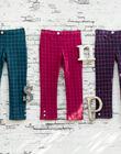Girl's ink blue checkered pants BROMILETTE2 / 21H2PFB2PANC214