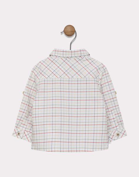 Baby boys' ecru shirt with orange-red, khaki and navy check pattern. SADUSTIN / 19H1BG31CHM000