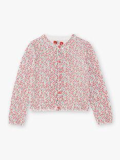 Girl's flower print long sleeve fine knit cardigan BAZIETTE / 21H2PF11CAR001