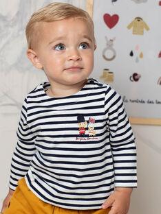 Baby Boy's White and Navy Stripe T-Shirt BAFLORIS / 21H1BG51TML001
