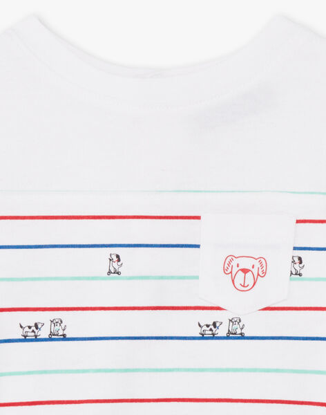 Baby boy's white and blue striped T-shirt BABILLY / 21H1BG11TML001