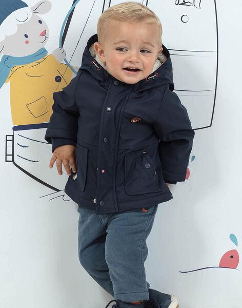 Baby boy's navy reversible hooded jacket BIOLIVE / 21H1BGD1DML070