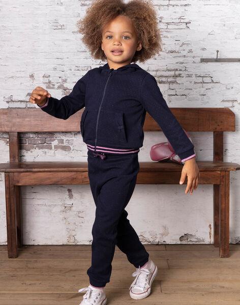 Girl's navy blue polka dot jogging pants BROUETTE / 21H2PF32JGB070
