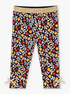 Baby girl's navy blue and white floral print legging BAELINA / 21H4BF51CAL070
