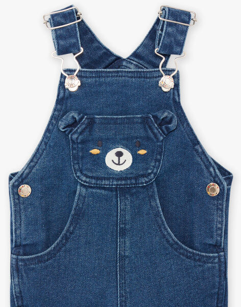Baby boy denim overalls with teddy bear print BAFLOYD / 21H1BG51SALP269