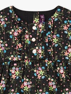 Baby Girl Long Sleeve Black Floral Print Dress BAMAUD / 21H1BFM2ROB090