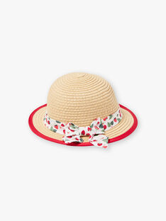 Rope hat with printed ecru satin ribbon ZAAMOUR / 21E4BFJ1CHA080